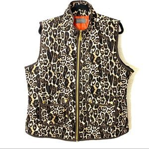 Casual Identity XL Leopard Quilted Vest